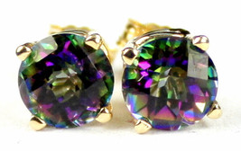 E012, 6mm round Mystic Fire Topaz, 14KY Gold Post Earrings - $129.10