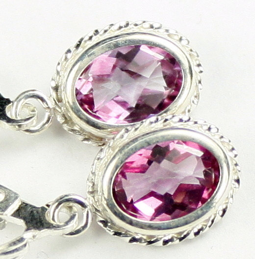 SE006, 8x6mm Pure Pink Topaz, 925 Sterling Silver Leverback Rope Earrings - $79.55