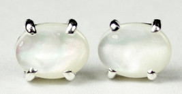 SE002C, 8x6mm Mother of Pearl, 925 Sterling Silver Post Earrings - $31.56