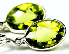 SE001, 8x6mm Peridot, 925 Sterling Silver Leverback Earrings - £56.87 GBP