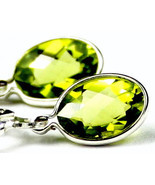 SE001, 8x6mm Peridot, 925 Sterling Silver Leverback Earrings - £57.31 GBP