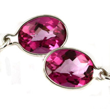 SE005, 8x6mm Pure Pink Topaz, 925 Sterling Silver Threader Earrings - $79.55