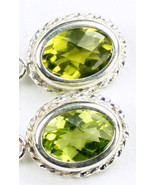 SE006, 8x6mm Peridot, 925 Sterling Silver Leverback Rope Earrings - $73.10