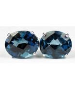 SE102, 10x8mm London Blue Topaz, 925 Sterling Silver Post Earrings - $142.39
