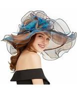 FADVES Women Fascinator Oganza Sun Hat Church Kentucky Derby Wide Brim W... - $15.08
