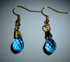 Dainty Blue Briolette Swarovski Crystal Dangle Earrings #11 - $10.00
