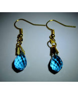 Dainty Blue Briolette Swarovski Crystal Dangle Earrings #11 - $10.00