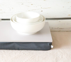 iPad stable table or Laptop Lap Desk without lip- Grey with dark Grey pillow - $49.00