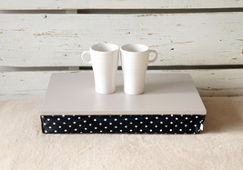 iPad stable table or Laptop Lap Desk without edges - Soft Grey with Black Polka  - $49.00