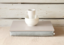 iPad stable table or Laptop Lap Desk without edges - Grey with Grey Linen pillow - $49.00