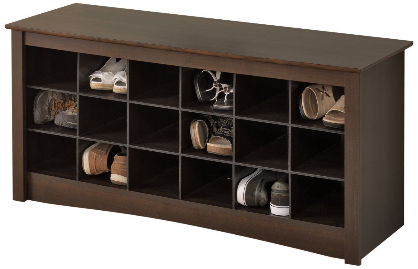 Foyer Cubby Storage : Espresso entryway foyer shoe cubby storage organizer