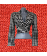 1980s vintage cropped black white jacket blazer size large 8 10 - $24.99