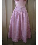 1980s vintage pink acid washed denim rockabilly midi skirt size extra sm... - $49.99