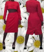 1990s vintage red crop jacket top midi skirt suit size medium large 8 10... - $69.99