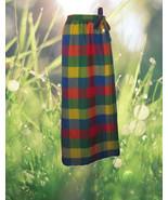1960s vintage rainbow maxi wrap plaid skirt siz... - $44.99