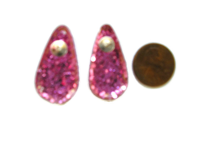 gothic pink glitter double black bats big teardrop post silver earrings