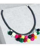 Forever 21 Boho Rainbow Pom Pom Statement Collar Necklace Costume Jewelr... - $9.70