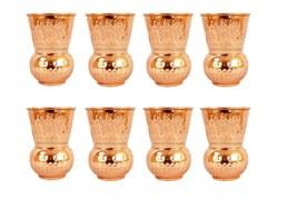 Handmade Copper Water Matka Glass Hammered Drinking Glass Tumbler Set of... - $65.73
