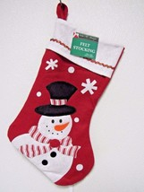 """Lot of 3 Snowman Red Felt 18"""" Christmas Holiday Stocking - $8.99"""