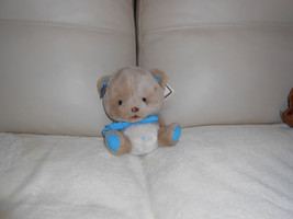 VTG 1984 Applause Toby Teddy Bear Blue Polka Dot Bow Plush Animal w/tags... - $19.78