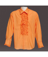EXCELLENT MEN'S ORANGE RUFFLED RETRO TUXEDO SHIRT LARGE - $75.00