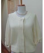NWOT - KENNETH COLE REACTION Ivory Round Neck Short Sleeve Cardigan - Si... - $28.04