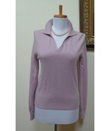 EUC - LORD & TAYLOR Antique Pink 100% Cashmere Collared V-Neck Sweater -... - $28.04