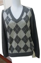 EUC - CHARTER CLUB Dark Heather Gray Argyle 100% Cashmere V-Neck Sweater -Size M - $29.69