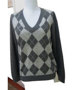EUC - CHARTER CLUB Dark Heather Gray Argyle 100% Cashmere V-Neck Sweater... - $29.69
