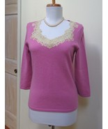 EUC - ANN TAYLOR Antique pink 100% Cashmere Scooped Lace Neck Sweater - ... - $28.04
