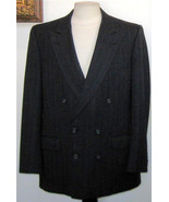 EUC - BURBERRYS' CHARCOAL WOOL DOUBLE BREASTED JACKET - SIZE 40 - $37.39