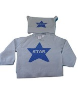 NWOT - BABY GAP Baby Boy's Blue 100% Cashmere 'Star' Sweater & Cap- 3 to... - $46.74