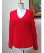 EUC -LORD & TAYLOR True Red 100% Cashmere V-Neck Sweater - Size M - Beauty! - $28.04