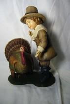 Bethany Lowe Pilgrim boy Feeding Thanksgiving Turkey image 1