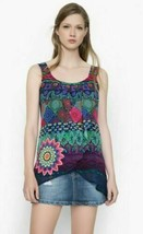 DESIGUAL BLUS MAGIC REP BLUE MULTI-COLOR TUNIC TOP SHEER S XS SLEEVELESS... - $40.46