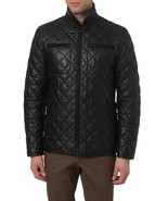 MEN'S QUILTED LEATHER JACKET, MEN FASHION LEATHER JACKET, MEN LEATHER JA... - $225.00+