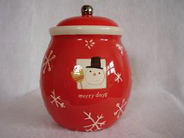 Hallmark Christmas Cookie Treat Jar Merry Days Snowman Snowflakes Jingle Bell image 3
