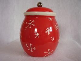 Hallmark Christmas Cookie Treat Jar Merry Days Snowman Snowflakes Jingle Bell image 2