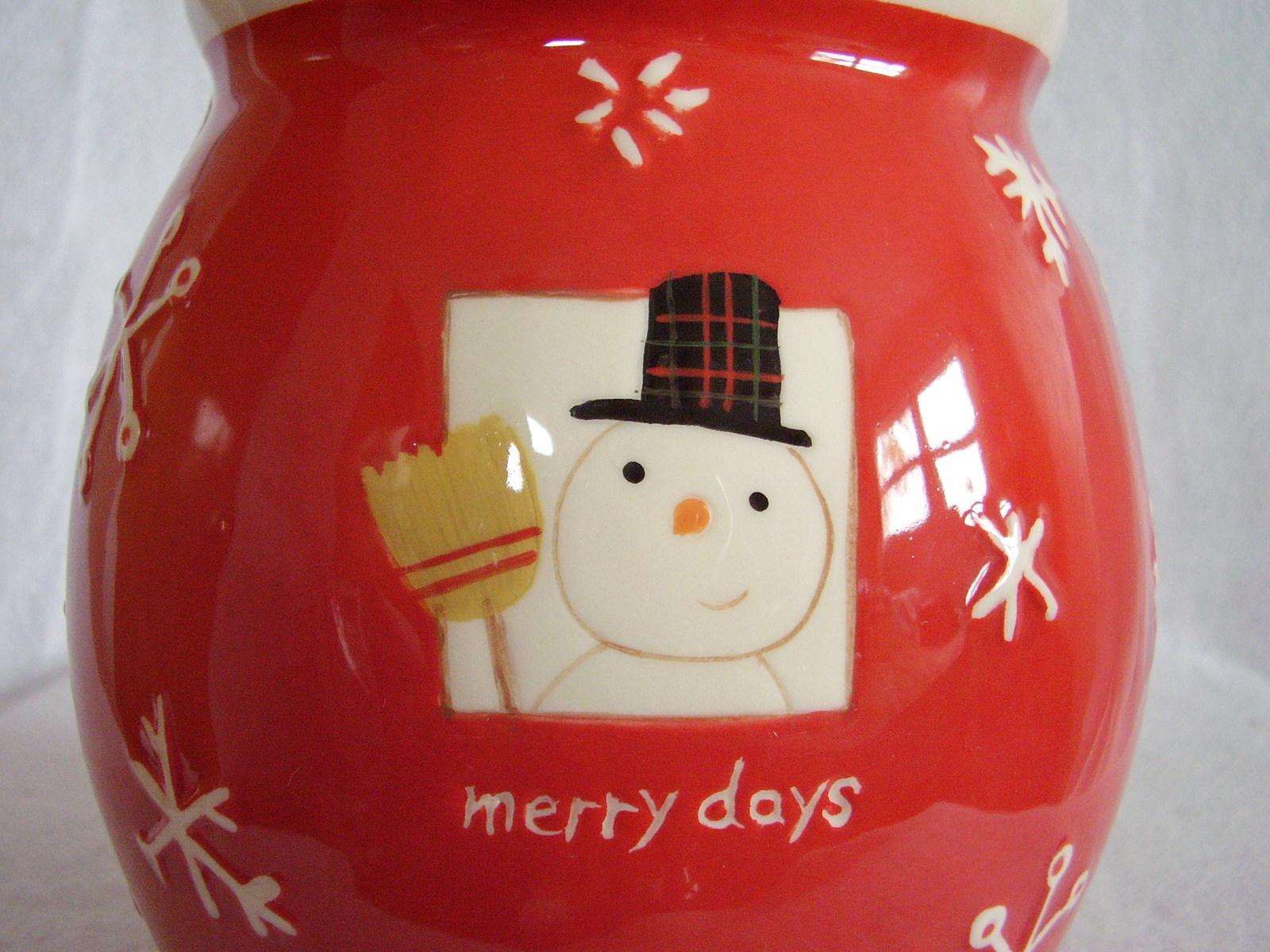 Hallmark Christmas Cookie Treat Jar Merry Days Snowman Snowflakes Jingle Bell image 4