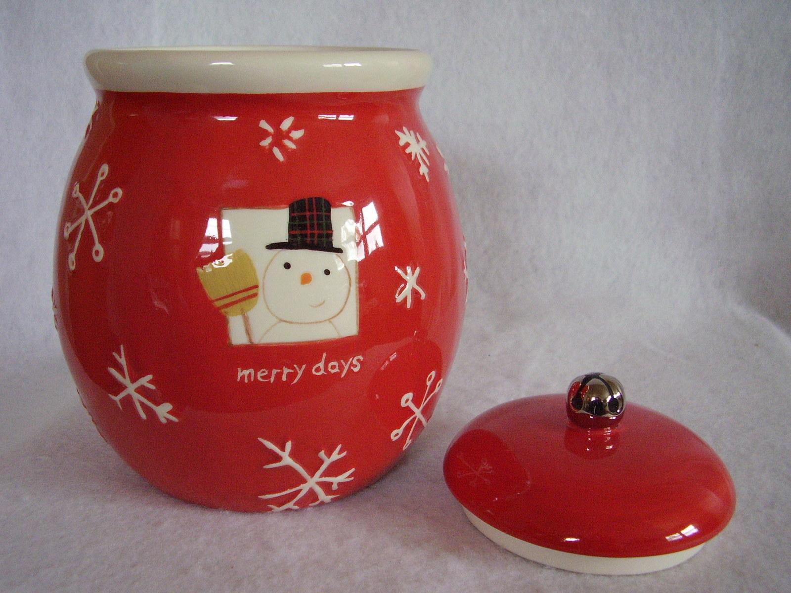 Hallmark Christmas Cookie Treat Jar Merry Days Snowman Snowflakes Jingle Bell image 6