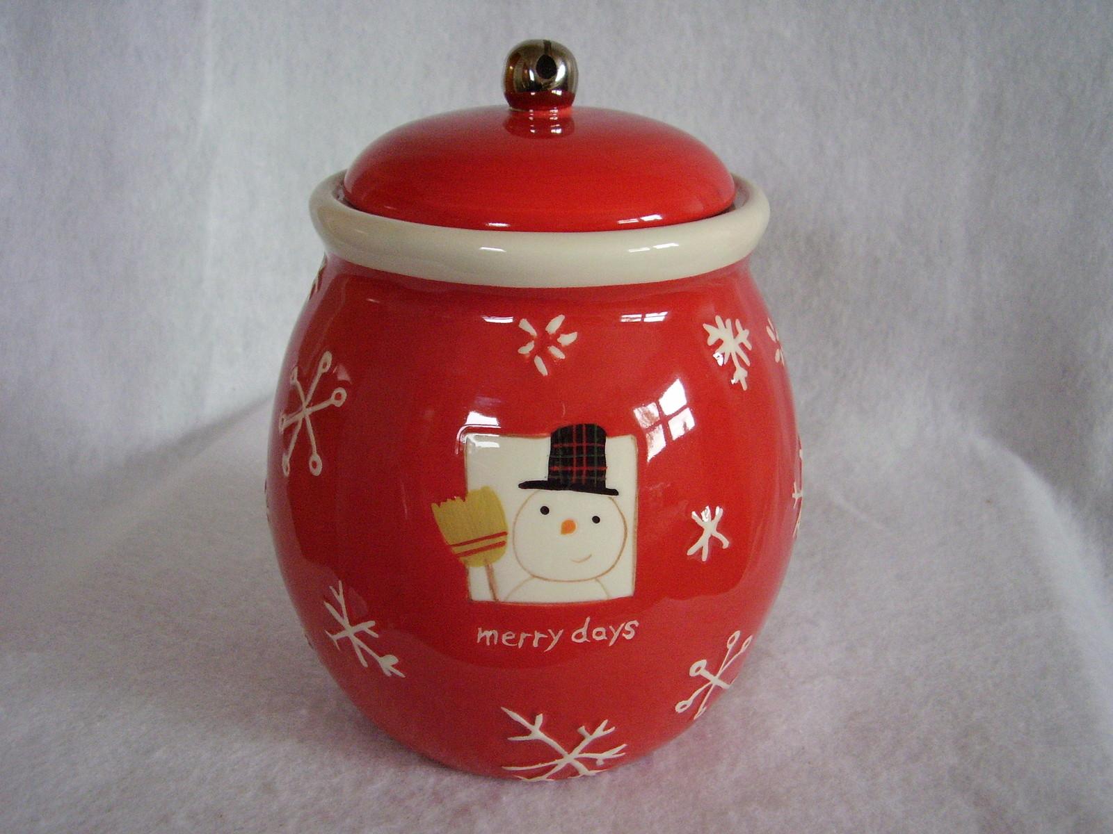 Hallmark Christmas Cookie Treat Jar Merry Days Snowman Snowflakes Jingle Bell