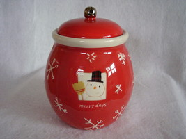 Hallmark Christmas Cookie Treat Jar Merry Days Snowman Snowflakes Jingle... - $36.00
