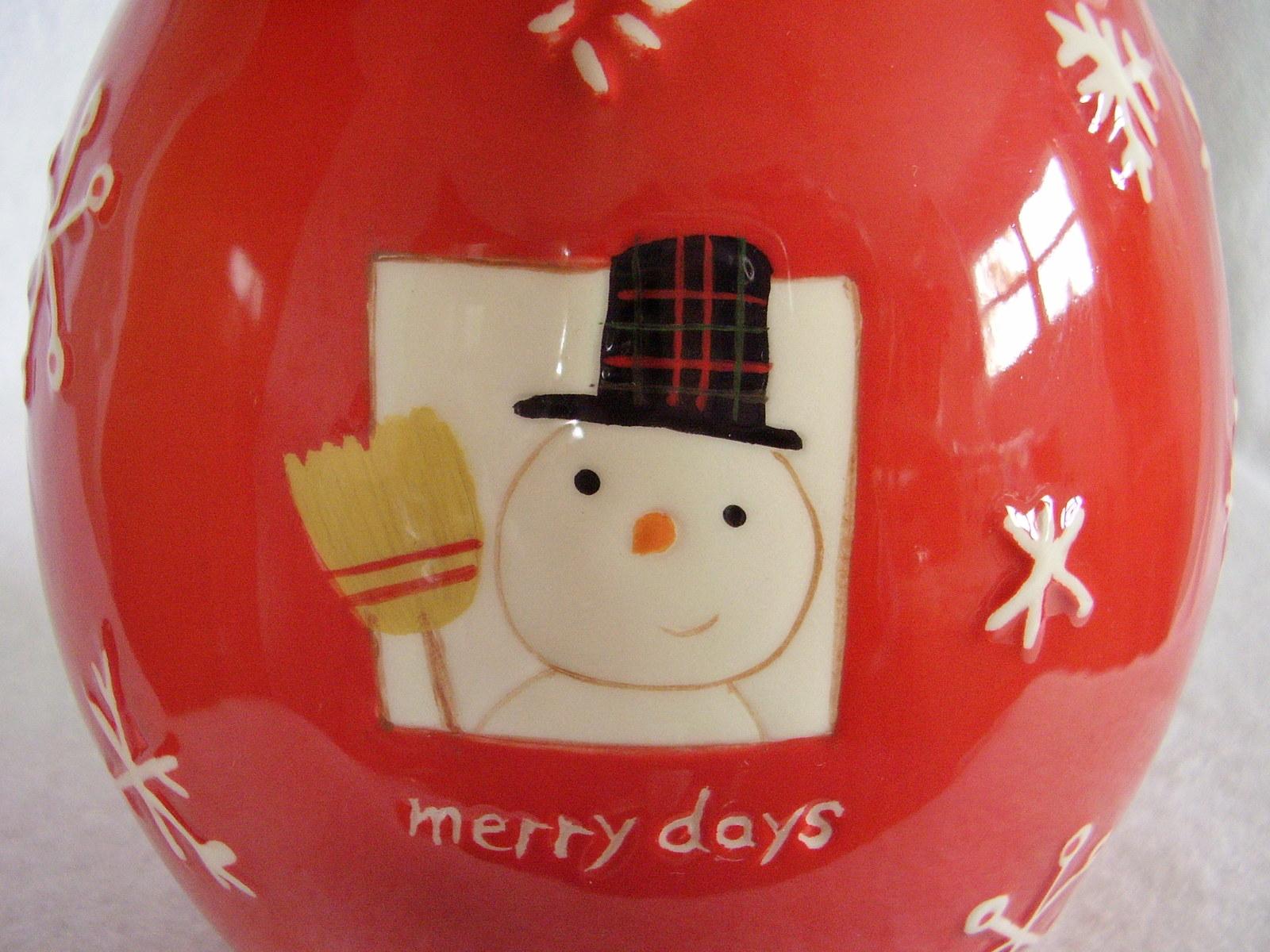 Hallmark Christmas Cookie Treat Jar Merry Days Snowman Snowflakes Jingle Bell image 5