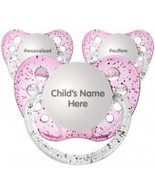 Set of 3 Personalized Pacifiers by Ulubulu, Glitter Pink, Girls - $21.95