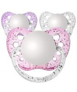 Set of 3 Personalized Pacifiers by Ulubulu, Glitter Pink Purple and Clea... - $21.95