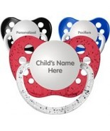Set of 3 Personalized Pacifiers by Ulubulu, Red Blue and Black, Boys - $21.95