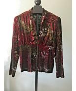 Joseph Ribkoff Jacket Size 1X Burgundy & Forest Green Semi Sheer Retro S... - $41.90
