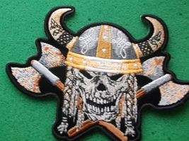 VIKING SKULL WITH AXES AND HORN HELMET BIKER PATCH - $6.99
