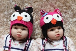 Knit Crochet Newborn Baby Child Kids Pink Black Owl Twins Hat Cap Beanie... - $12.99