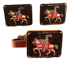 KNIGHT Medieval Horse Armor PAT marked SET Men Tie Clip and Cufflinks Authentic  - $75.00